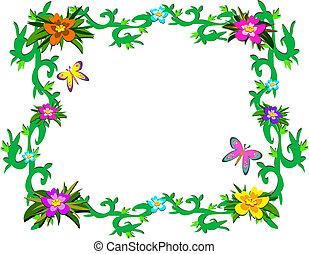 plants, тропический, рамка, б, пышный