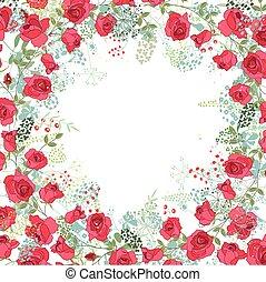 plants., 広場, シルエット, 花, 抽象的, テンプレート, 定型, 赤, ハーブ, roses.