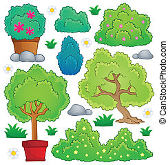 Plants and bush theme collection 1 - eps10 vector ...