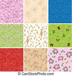 plants and butterflies on seamless patterns - set of vector backgrounds