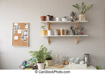 Plants and kitchenware in kitchen