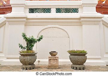 plants., chinois, pots fleurs