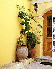 Plants in a doorway in Corfu