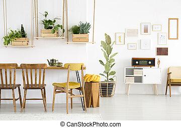 Plants in retro flat interior