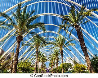 Plants in the Umbracle, a landscaped walk at he City of Arts and Sciences - Valencia, Spain