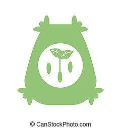 plants seeds bag icon, silhouette style