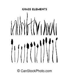 plants., selvatico, contorno, mano, vettore, spikelet, erbe, nero, collection., disegno, schizzo, silhouette, isolato, set., erba, prato, white., campo, o