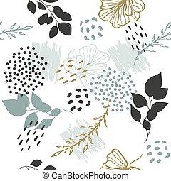 plants., vettore, esotico, modello, seamless