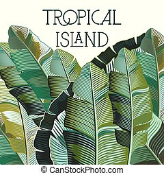 plants.eps, tropicale, moda, vettore, illustrazione