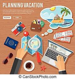 planung, begriff, urlaub
