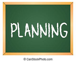planung, geschrieben, auf, tafel