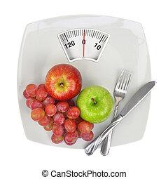 plaque, échelle, peser, fruit, frais