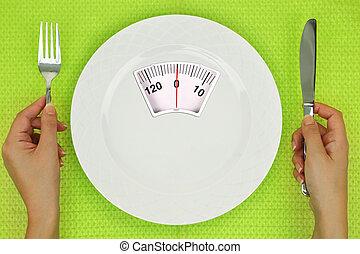 plaque, échelle, peser, table, mains