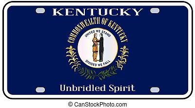 plaque, état, drapeau kentucky, licence