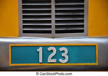 plaque, 123, nombre