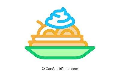 plaque, animation, assaisonnement, icône, mayonnaise, nourriture