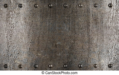 plaque, armure, métal, texture, ou, rivets