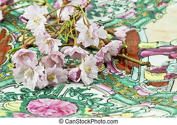 plaque, asiatique, fleurs, cerise