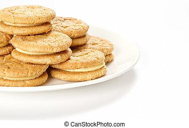 plaque,  biscuits, crème