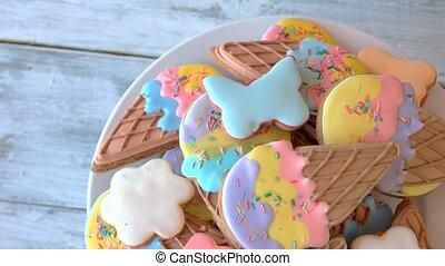 plaque., biscuits, formé, glace