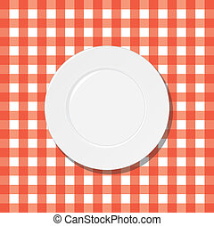 plaque, blanc, checkered nappe, rouges