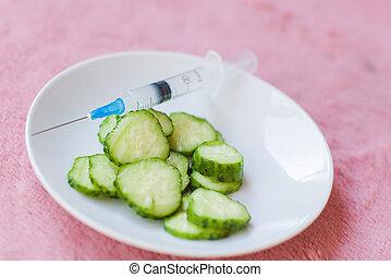 plaque, blanc, cucumber., vert, tranches