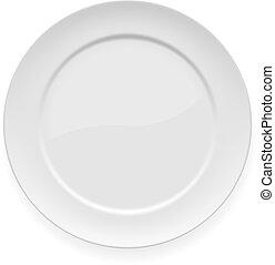 plaque, blanc, dîner, vide