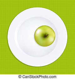plaque, blanc, pomme verte