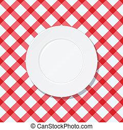 plaque, blanc, vérifié, nappe, rouges