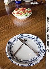 plaque, bol, vide, salade