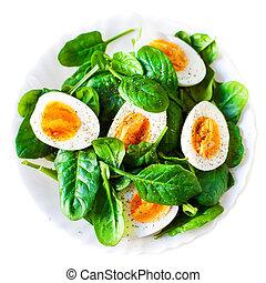 plaque, bouilli, salade, divisées deux, épinards, sain,...