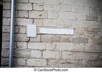 plaque, brique, wall., nombre, maison