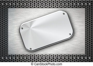 Brushed steel plate on metal background. Copy space