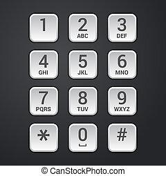 plaque, cadran, clavier, serrure, téléphone, numérique,...