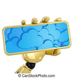 plaque, calculer, main, fond, robotique, prise, nuage, 3d