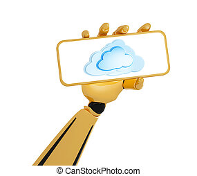 plaque, calculer, main, robotique, prise, nuage, 3d