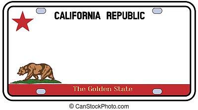 plaque, californie, licence