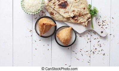 plaque, casse-croûte, traditionnel, indien bois, table, ...