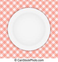 plaque, checkered, illustration, vecteur, blanc, nappe