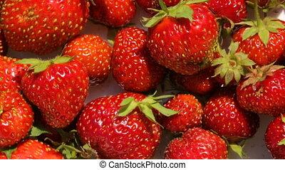 plaque, closeup, fraises