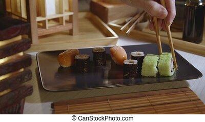plaque, closeup, sushi, remplissage, japonaise