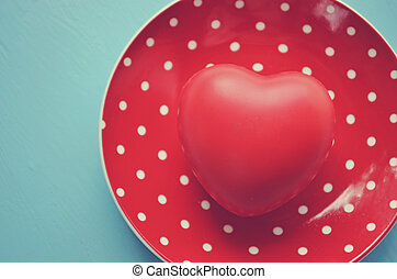 plaque, coeur, vendange, polka, rouges, point