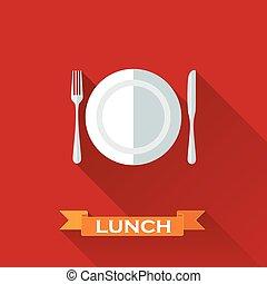 plaque, concept, plat, coutellerie, illustration, déjeuner,...