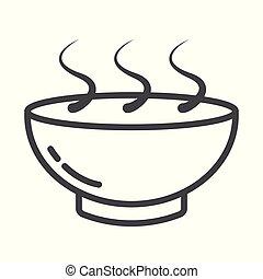 plaque, contour, nourriture, bol, arrière-plan., chaud, perfect., noir, icon., blanc, pixel, icône