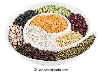 plaque, coup, grains, nourriture, haut, divers, fin