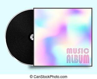 plaque, couverture, vinyle, coloré, enregistrement