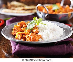 plaque, curry, basmati, indien, poulet, riz, vindaloo