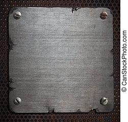 plaque, déchiré, métal, rouillé, bords, fond
