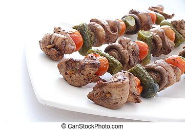plaque, dégonfler kebabs, blanc