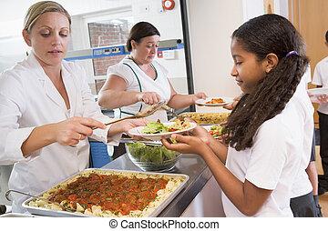 plaque, déjeuner scolaire, tenue, écolière, cafétéria